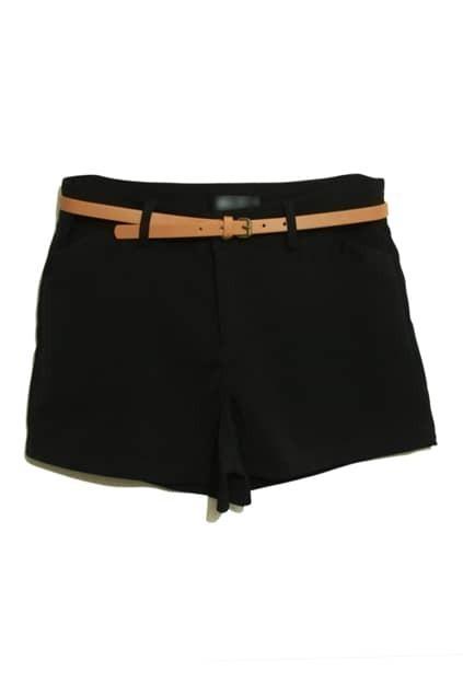 Empire Waist Black Chiffon Shorts