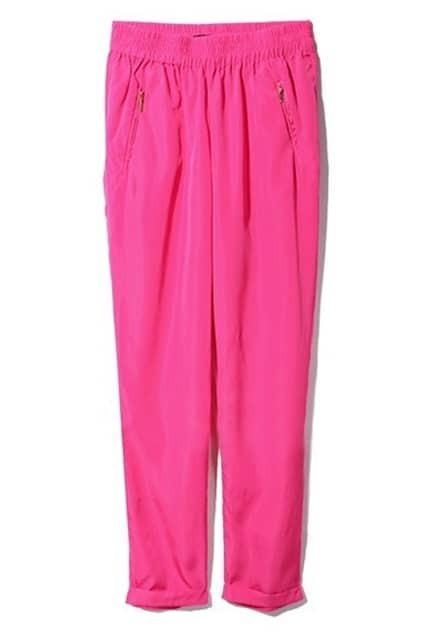 Medium Waist Casual Rose Pants