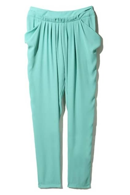 Pleated Large Pockets Mint Green Pants