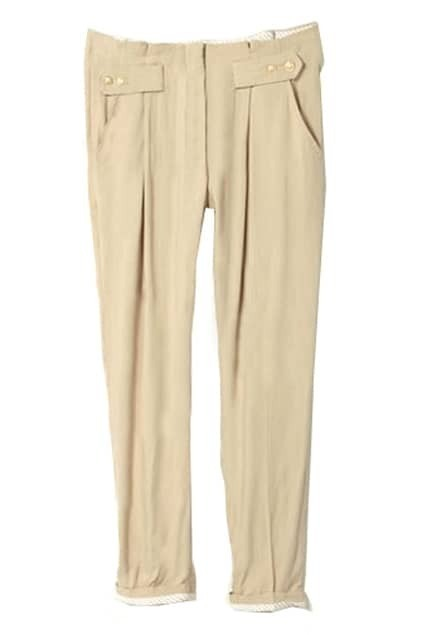 Cotton Button Apricot Casual Pants