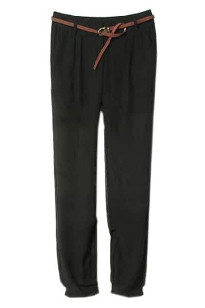 Semi-perspective Chiffon Black Pants