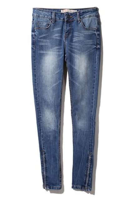 Grasping Wrinkle Marks Navy Blue Jeans