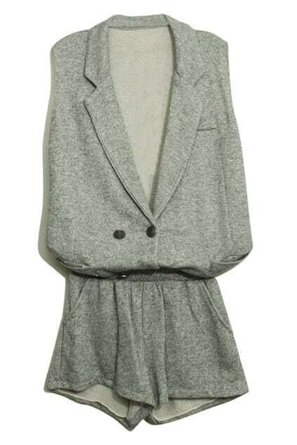 Double Breasted Light Grey Two Pieces