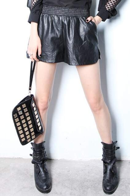 Medium Waist Drape Black Leather Short