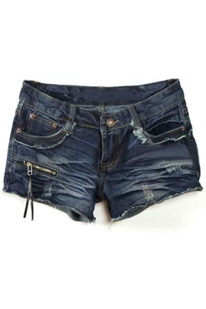 Threadbare Distressed Blue Denim Shorts