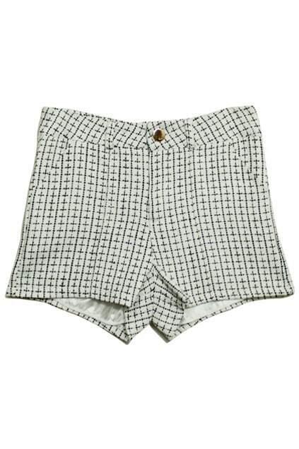 High-Waist Lattice White Shorts