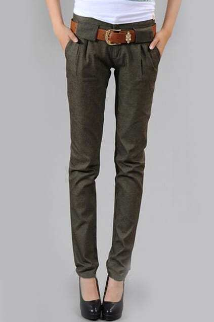 Pleating Pockets Elasticated Slim Army-green Jeans