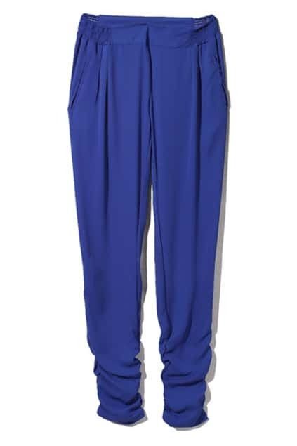 Pleated Cuffs Elasticated Royalblue Harem Pants