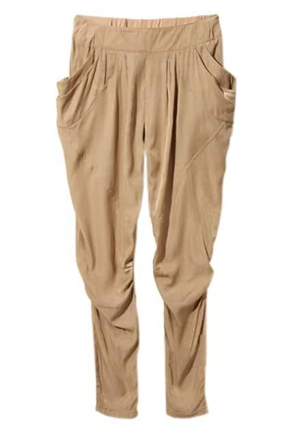 Casual Style Pleated Coffee Harem Pants