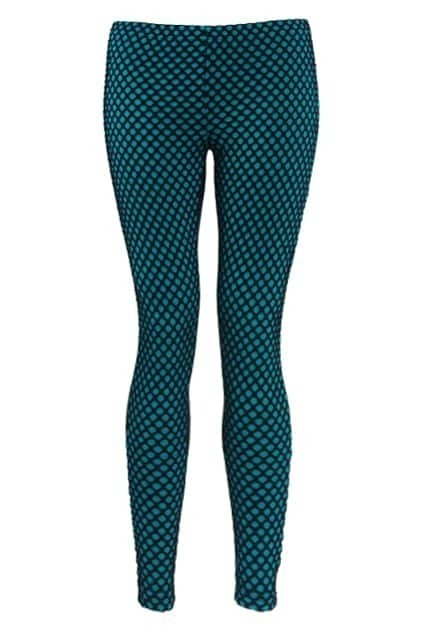 Gridding Slim Fit Blue Leggings