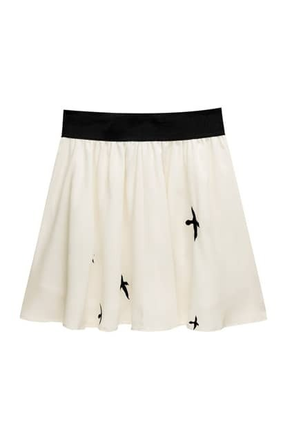 Bandeau Embroidery Cream Skirt