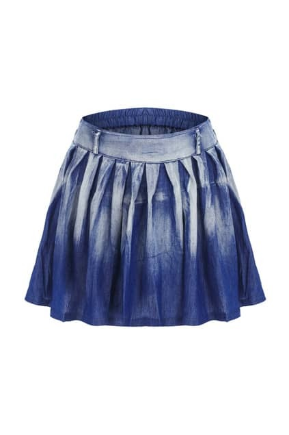Dip Dye Pleated Blue Skirt