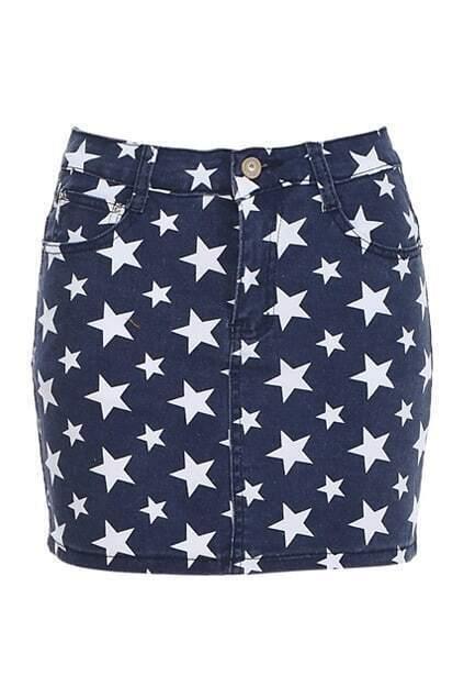 Stars Print Pencil Skirt