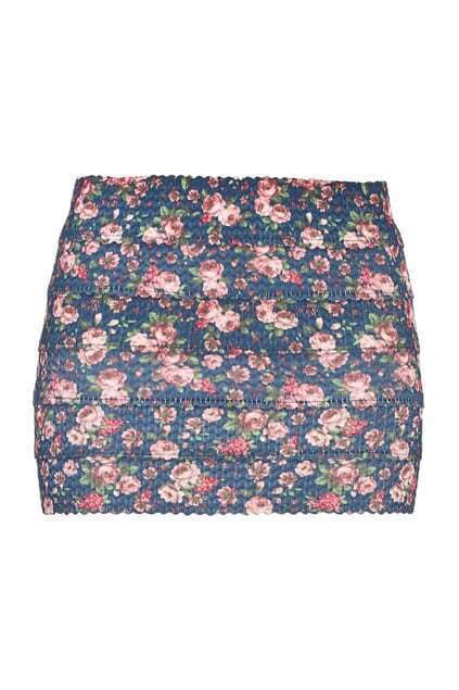 Floral Body-conscious Skirt