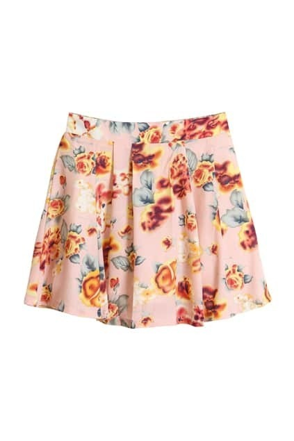 High-rise Floral Pink Skirt
