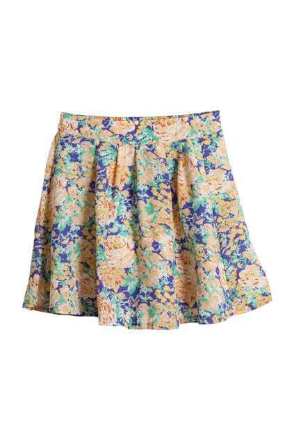 High-rise Flowers Print Skirt