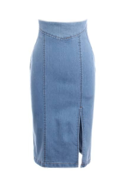 Split High Waist Light Blue Skirt