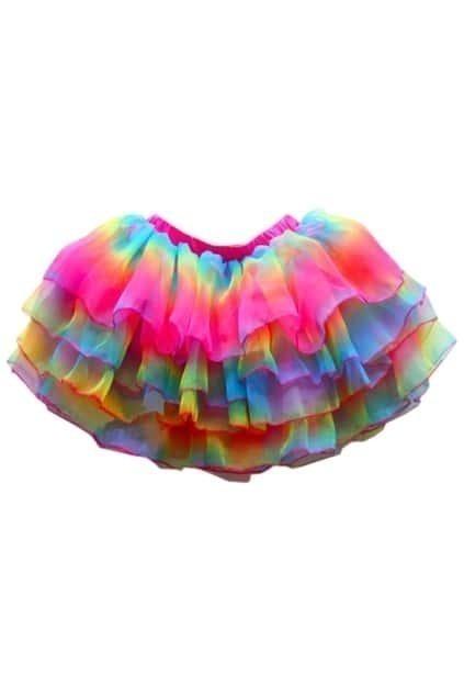 Layered Rainbow Puff Skirt