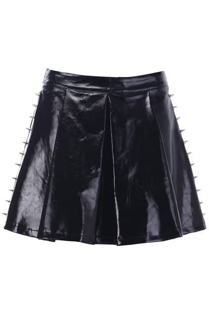 Rivets Detailed Leather-look Skirt