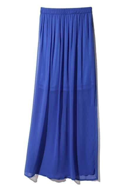 Pleats Embellished Royalblue Skirt