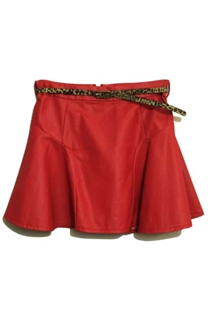 Leather Look Red Skater Skirt