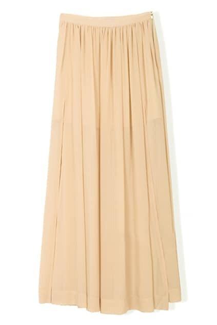 Pleat Metal Zip Nude Skirt