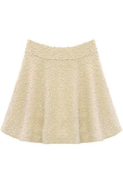 Flared Shape Pleated White Tweed Skirt