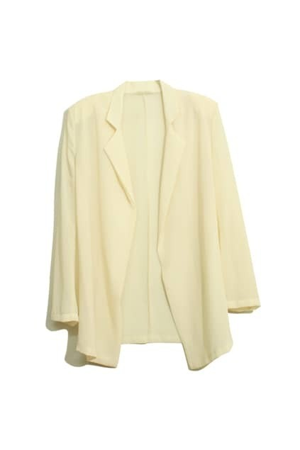 Shoulder Pads Cream Chiffon Blazer