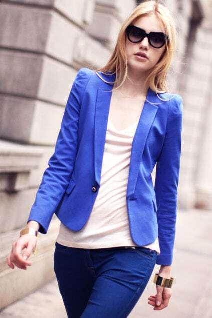 Shrugged Shoulders Cropped Blue Suit