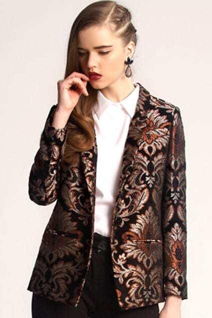 Baroque Retro Embroidery Black Suit