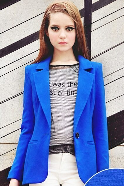 Candy Color Slim Blue Suit