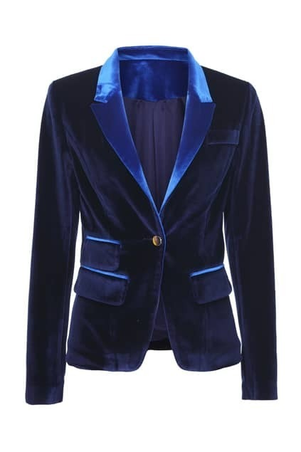 Dark Blue Velvet Blazer