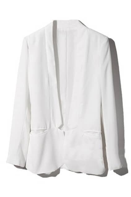 Stand-up Collar Shoulder Pads White Blazer