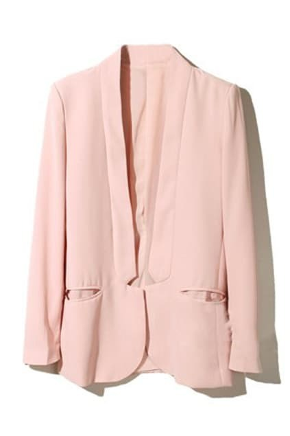 Stand-up Collar Shoulder Pads Pink Blazer