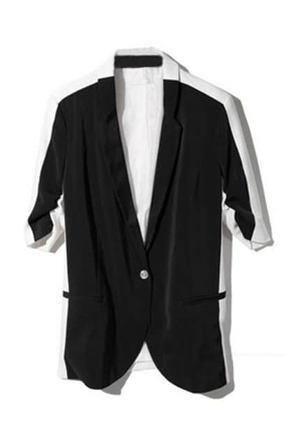 Single-button Black And White Blazer