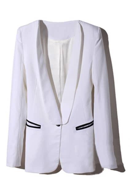Contrast Color White Blazer