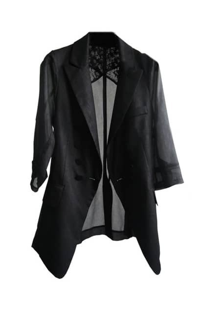 Chiffon Button Black Blazer