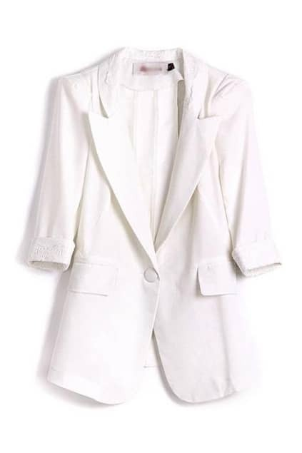 Lace One Button White Blazer
