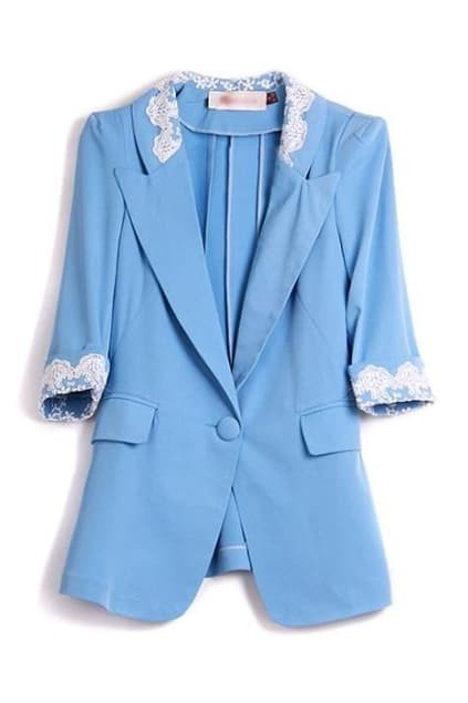 Lace One Button Blue Blazer