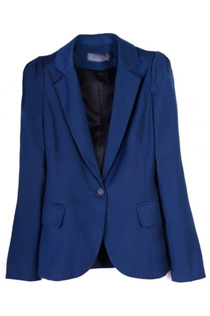 One Button Dark Blue Blazer