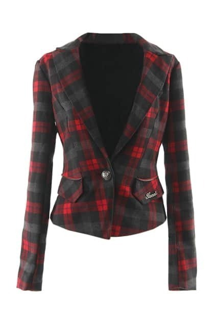 Red And Black Lattice Blazer