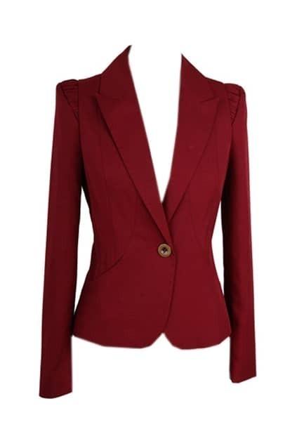 One Button Claret-red Blazer