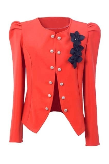 Double Button Orange Blazer