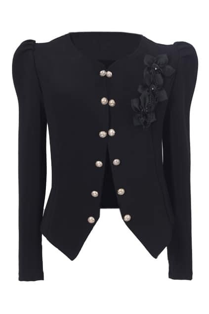 Double Button Black Blazer