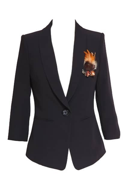 Cropped Sleeve One Button Black Blazer