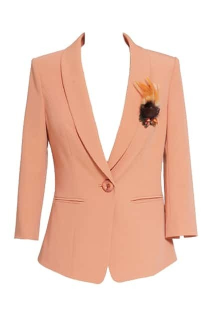 Cropped Sleeve One Button Pink Blazer