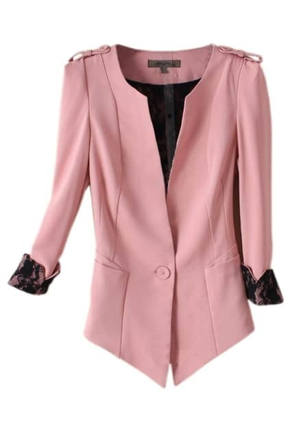 Deep V Neck Pink Blazer