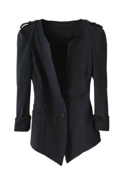 Deep V Neck Black Blazer