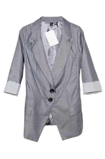 Cropped Sleeve Stripe Light Grey Blazer