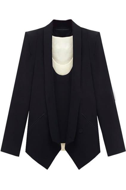 One Button Pocket Black Blazer